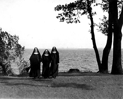 3 Sisters in habits by Lake Mendota 1953